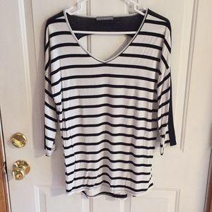 Loveapella black and white striped 3/4 shirt